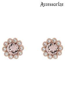 Accessorize Pink Flower Stud Earrings