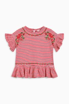 Striped Embroidered Ruffle Top (3-16yrs)