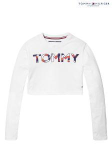 Tommy Hilfiger White Girls Beryl Sports Cropped T-Shirt
