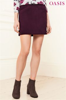 Oasis Burgundy Cutabout Cord Skirt