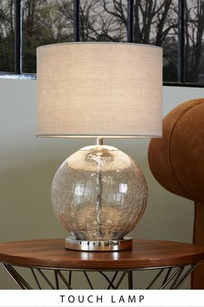 Smoke Crackle Glass Table Lamp