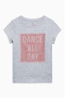 Slogan Glitter Mesh Short Sleeve T-Shirt (3-16yrs)