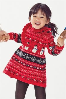Girls Christmas Fairisle Pattern Dress (3mths-6yrs)