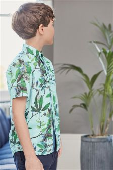 Short Sleeve Botanical Print Shirt (3-16yrs)