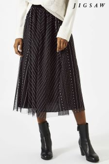 Jigsaw Black Tulle Midi Skirt