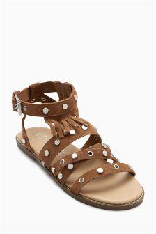 Fringe Stud Sandals (Older Girls)