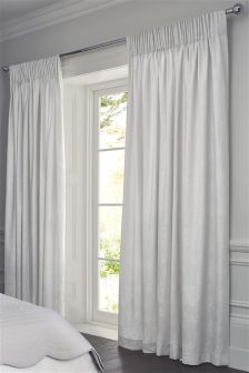 White and Silver Pencil Pleat Butterfly Jacquard Curtains