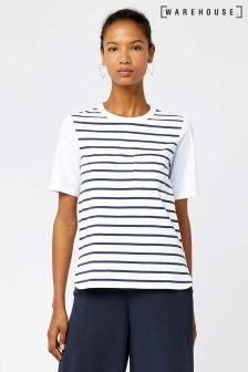 Warehouse Navy/White Cotton Back Stripe Pocket Tee