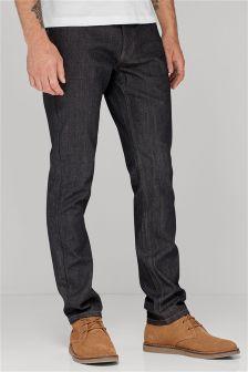 Coated Raw Denim Jeans With Stretch