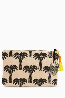 Palm Tree Print Clutch Bag