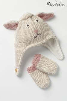 Boden Cream Hat And Mittens Set