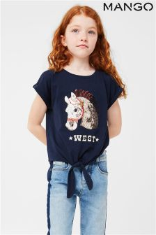 Mango Kids Girls Navy Sequin Horse T-Shirt