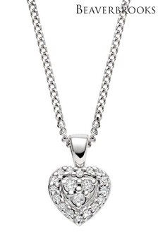 Beaverbrooks 9ct White Gold Diamond Heart Pendant