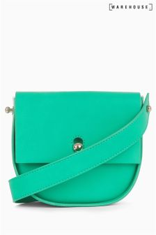 Warehouse Green Keyhole Saddle Cross Body Bag