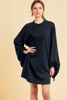 Ruched Sleeve Sweat Dress