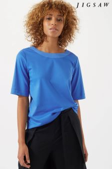 Jigsaw Blue Silk Insert Deep V Top