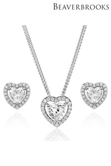 Beaverbrooks Silver Cubic Zirconia Heart Pendant and Stud Earrings Set