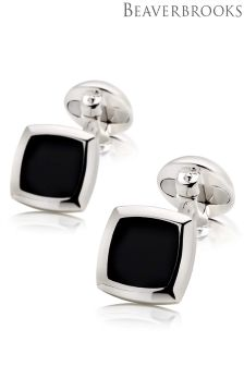 Beaverbrooks Silver And Black Agate Square Cufflinks