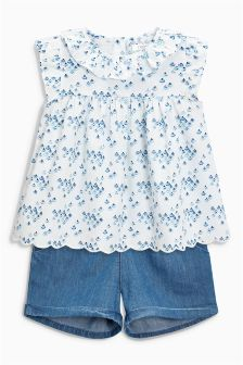 Pretty Ruffle Collar Printed Blouse And Denim Short Set (3mths-6yrs)