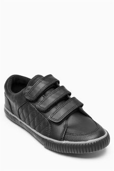 Black Triple Strap School Pumps (Older Boys)