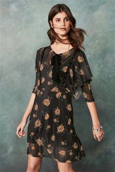 Rose Print Mesh Studded Dress