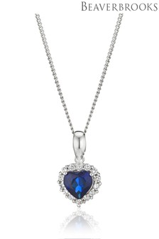 Beaverbrooks 9ct White Gold Cubic Zirconia Heart Pendant