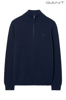 GANT Navy Dot Textured Half Zip Jumper