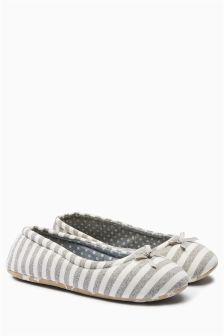 Stripe Ballerina Slippers
