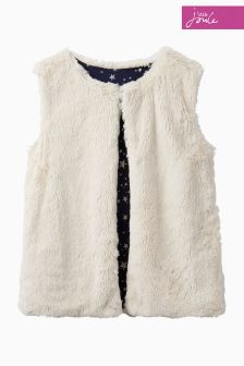 Joules Cream Faux Fur Reversible Gilet