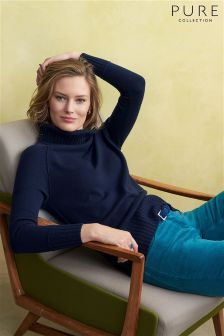 Pure Collection Navy Ribbed Trim Polo Sweater