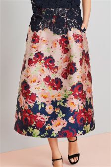 Jacquard Border Print Skirt