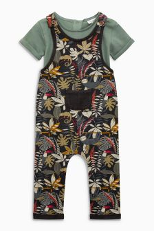 All-Over-Print Dungarees (0mths-2yrs)