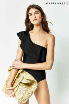 Warehouse Black Ruffle One Shoulder Swimsuit