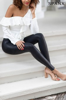 Spanx® Black Faux Leather Structured Legging