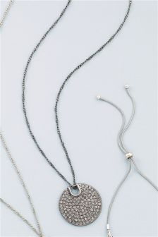 Sparkle Disc Long Necklace