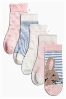 Pink Textured Bunny Socks Five Pack (Younger Girls)