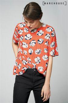 Warehouse Orange Floating Floral T-Shirt