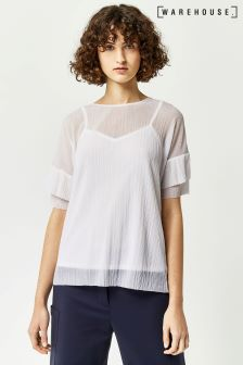 Warehouse Cream Plisse Frill Top