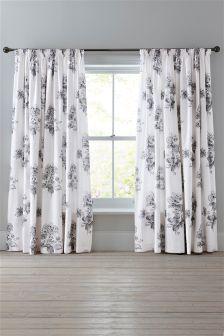 Cotton Sateen Elegant Hydrangea Pencil Pleat Curtains