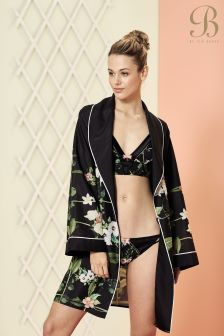 B By Ted Baker Black Secret Trellis Printed Kimono Dressing Gown