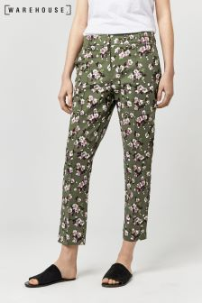 Warehouse Khaki Mae Floral Compact Cotton Trouser