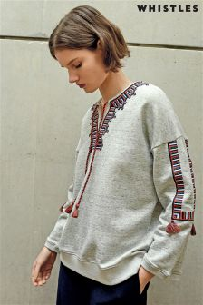 Whistles Grey Embroidered Open Neck Sweat