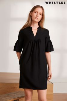 Whistles Black Flute Sleeve Shift Dress