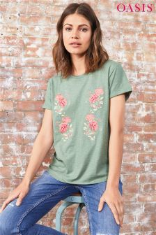 Oasis Khaki Pandora Bloom Embroidered Tee