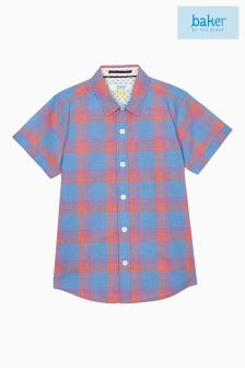 Baker By Ted Baker Blue Check Short Sleeve Shirt