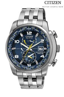 Silver Citizen Gents Eco Drive® World Time A.T Watch