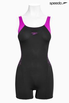 Speedo® Black And Diva Boom Splice Legsuit