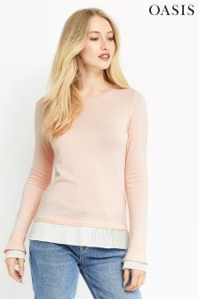 Oasis Pale Pink Pleat Detail Knit