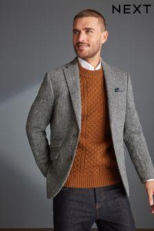 Harris Tweed Herringbone Tailored Fit Wool Jacket