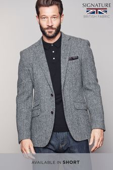 Harris Tweed Herringbone Tailored Fit Wool Jacket